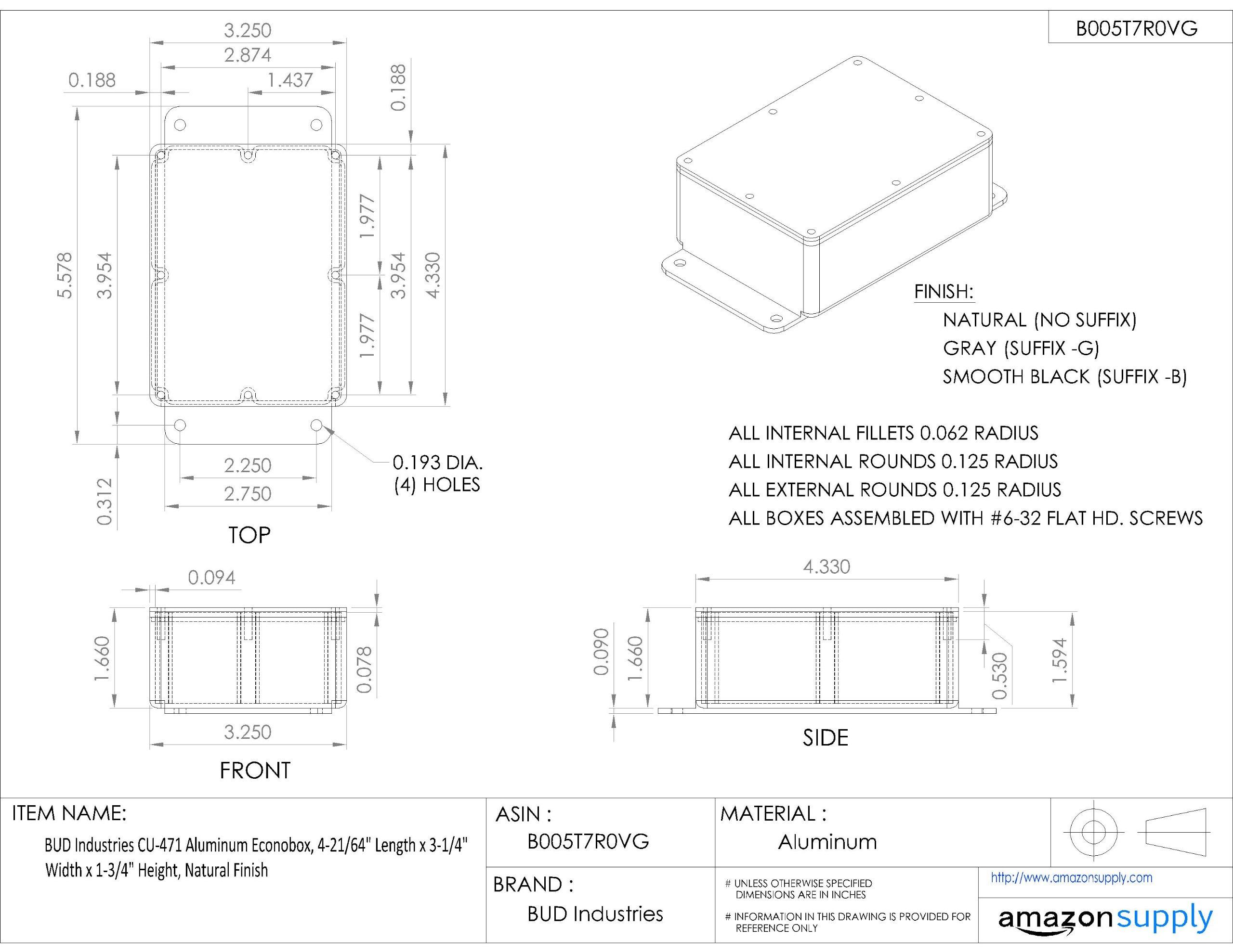BUD Industries CU-471 Aluminum Econobox, 4-21/64'' Length x 3-1/4'' Width x 1-3/4'' Height, Natural Finish