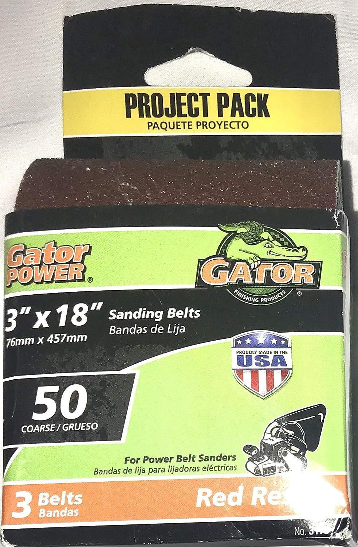 Gator 3-Pack 50-Grit 3-in W x 18-in L Sanding Belt Sandpaper Red Resin