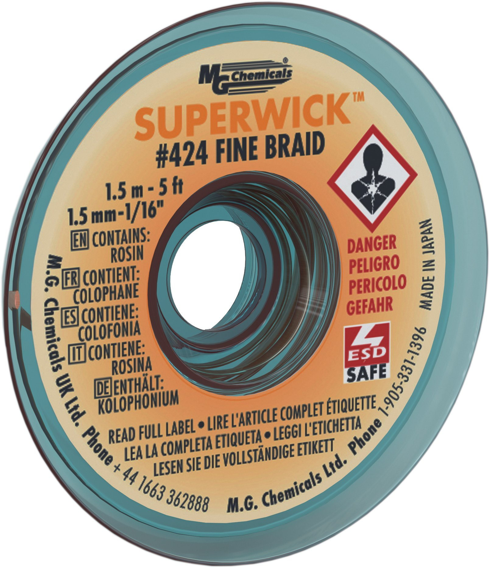 "MG Chemicals Desoldering Braid #424 Fine Braid Super Wick with RMA Flux, 5' Length x 0.05"" Width, Yellow"