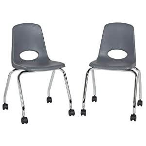 "Factory Direct Partners 18"" Mobile School Chair with Wheels for Kids, Teens and Adults; Ergonomic Seat for in-Home Learning, Classroom or Office - Gray (2-Pack) (10372-GY)"