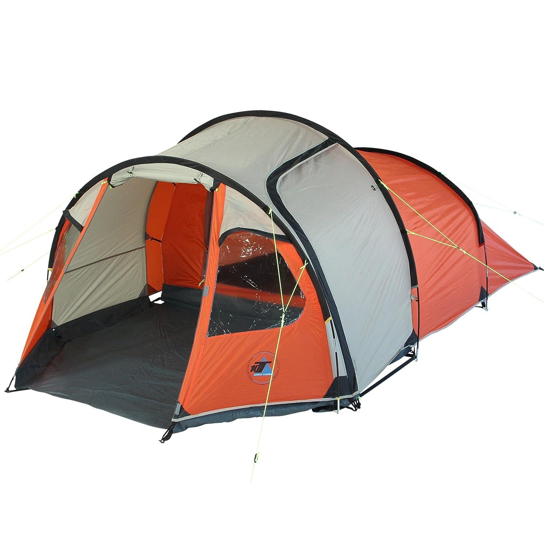 10T Mandiga 3 Orange - Tunnelzelt für 3 Personen, Campingzelt mit großer Schlafkabine, wasserdichtes Familienzelt mit 5000mm, Zelt mit 2 Eingängen und 2 Fenstern, Festivalzelt mit Dauerbelüftung, 3 Mann Zelt mit Tragetasche, Zeltherin