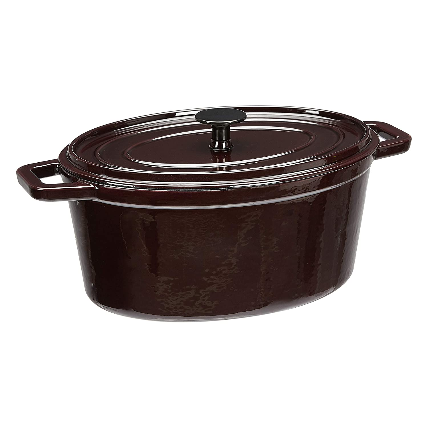 AmazonBasics Z4715MR Premium Enameled Cast Iron Oval Dutch Oven, 6-Quart, Deep Cranberry