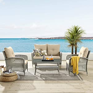 Tribesigns 4 PCS Patio Furniture Sets, Outdoor PE Wicker Rattan Patio Sofa Conversation Set with Tea Table and Washable Couch Cushions for Garden, Backyard, Poolside, Balcon (Khaki)