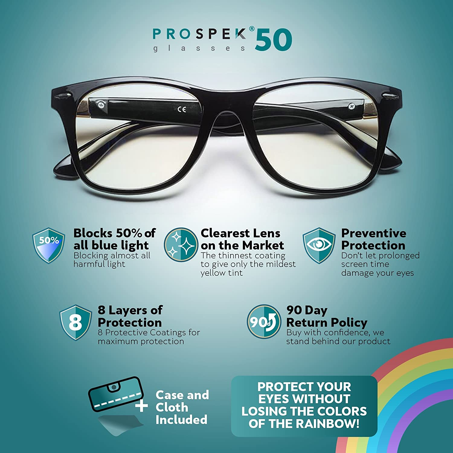 e587b95a49 Amazon.com  PROSPEK - Anti Blue Light Computer Glasses - Protect Your Eyes.  Manufactured by Spektrum Glasses  Health   Personal Care
