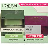 L'Oreal Paris Pure Clay Mask, Eucalyptus, 48g with Hydra Fresh Antiox Cream, 50ml