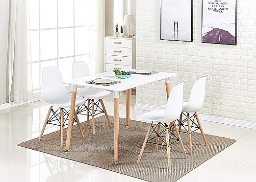 HomeSailing Mesa de comedor de madera blanca y 4 sillas, juego de ...