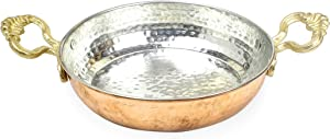 Turkish Copper Pan: Solid Copper Egg Pan | Turkish Frying Double Omelet Pan | Antique Copper Pan Used for Frying or Decoration 6.7 inches (17 cm)