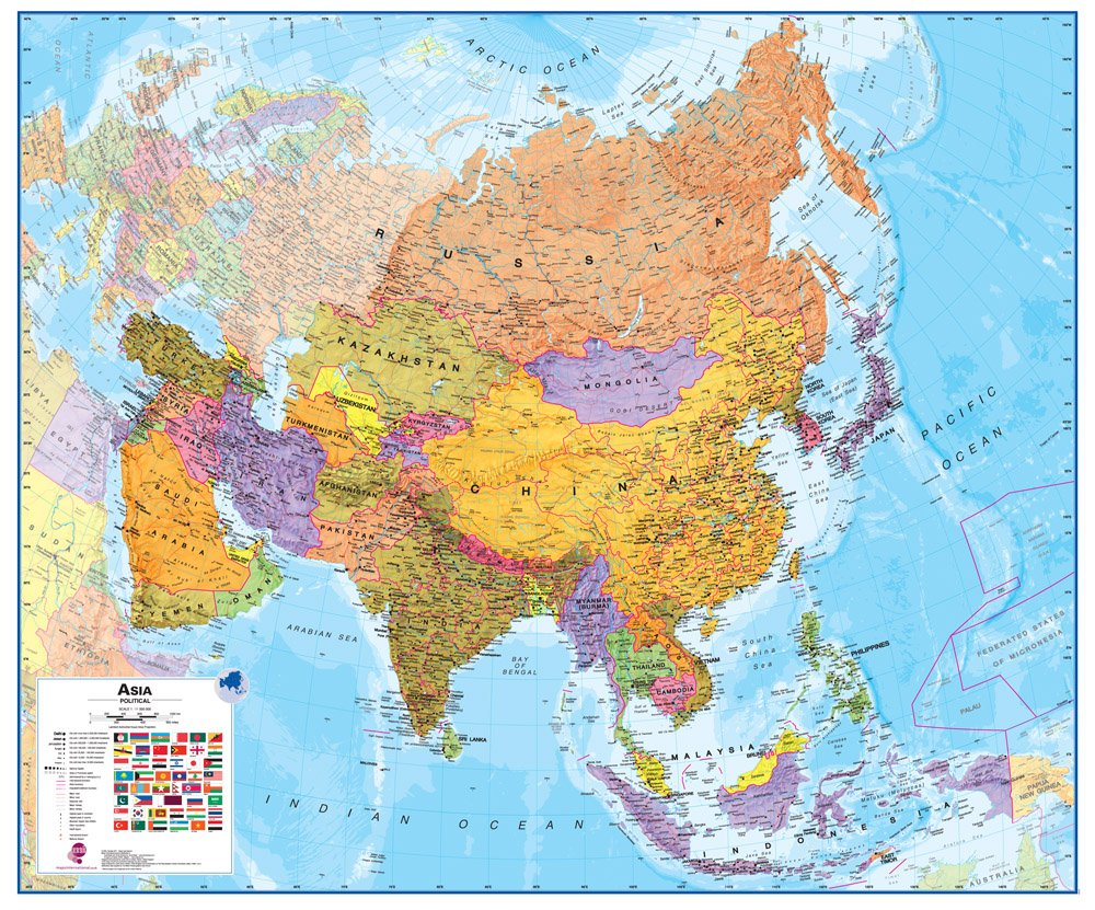 amazoncom large asia wall map political laminated prints posters prints