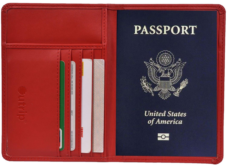 Yeeasy RFID Blocking Leather Passport Holder Cover & Travel Wallet ID Card Case (Darkblue)