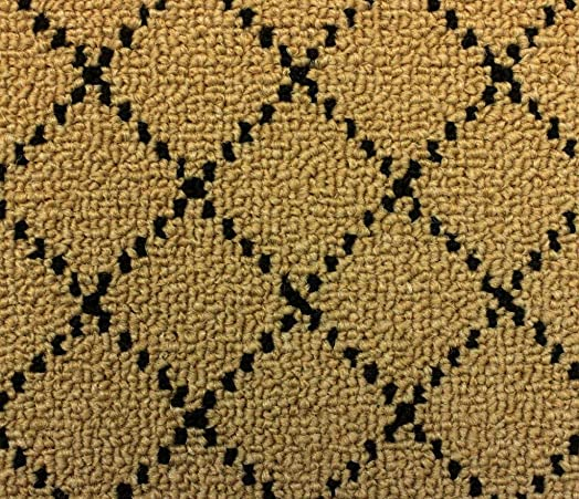 Koeckritz Oval 3 X5 Indoor 26oz Berber Area Rug -Goldstock Black Diamond Pattern Durable Area Rug for Home with Premium Bound Polyester Edges.