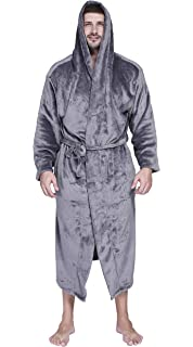a2b2be5a62 Honofash Bathrobe Men Dressing Gown Towelling Hooded Terry Fluffy Boy  Luxury Long Plus Size XXXL Spa