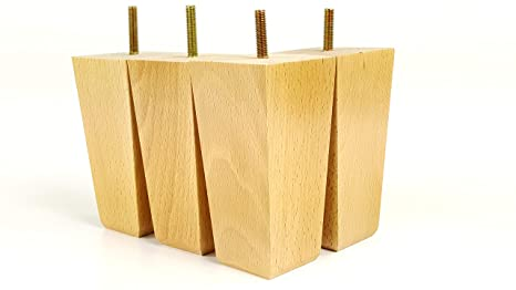 Gambe mobili piedi di ricambio in legno massello per divani