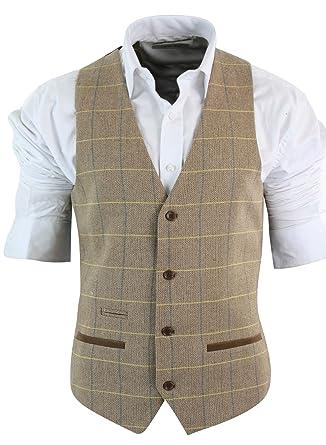 3696eebe4180c Gilet Homme Vintage Tweed à Carreaux Chevrons Marron Tan Gris Charbon Coupe  cintrée Bordure en Velours