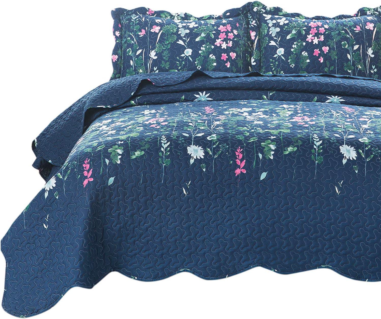 Bedsure King Quilt Set Bedspreads King Size Coverlet, Lilac Flower Pattern, Lightweight Design , 1 Quilt and 2 Pillow Shams