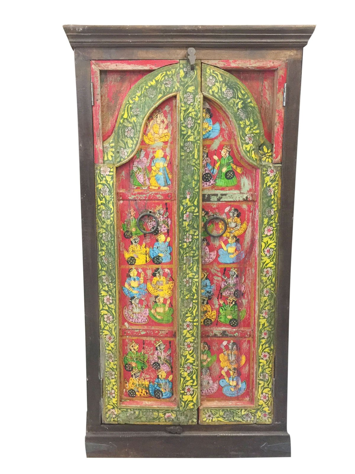 Antique Wardrobe Hand Painted Haveli Armoire Cabinet Shabby chic Interiors Design