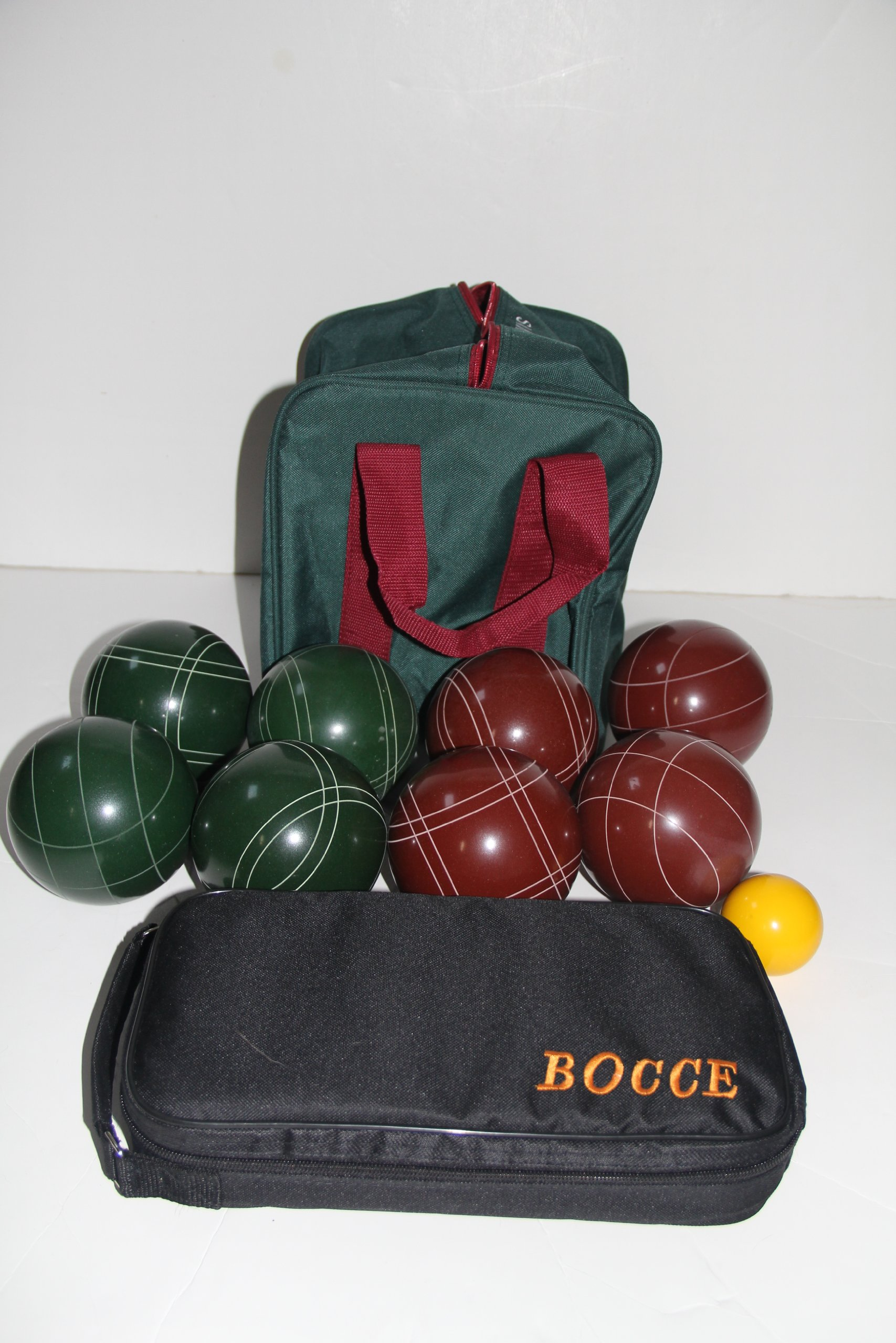 Bocce package - EPCO 107mm red and green bocce set and 73mm metal Petanque set by BuyBocceBalls