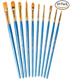 Hibery 20 Pcs Pointed - Round Paintbrush Set - Blue Round Pointed Tip Nylon Hair Artist Paint Brush, Art and Watercolor Brushes, Acrylic Paint Brushes, Oil Painting Supplies