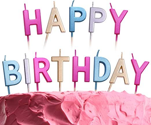 Surprising Amazon Com Get Fresh Coloured Happy Birthday Candles 13 Count Personalised Birthday Cards Veneteletsinfo