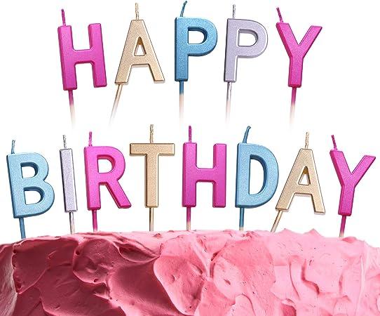Amazon.com: Set de velas de cumpleaños con texto en inglés ...