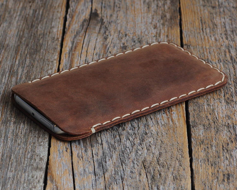 Marrón oscuro funda de cuero para iPhone XS, X caja de funda bolsa. Cosido a mano.
