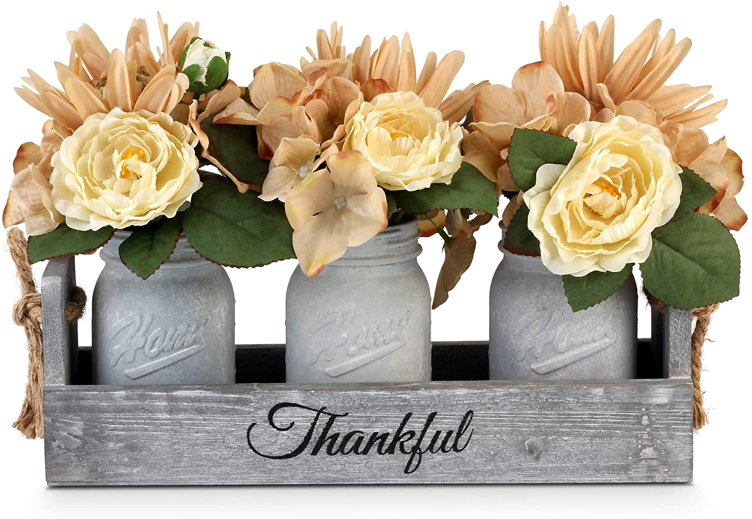 Besuerte Farmhouse Mason Jar Centerpieces Rustic Country Home Table Decor With 3 White Painted Mason Jars Rose Bouquet Flowers For Dining Room Living Room Kitchen Coffee Table Utensils Holder Home Improvement