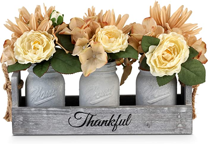 BeSuerte Farmhouse Mason Jar Centerpieces, Rustic Country Home Table Decor with 3 White Painted Mason Jars,Rose Bouquet Flowers for Dining Room,Living Room,Kitchen,Coffee Table,Utensils Holder