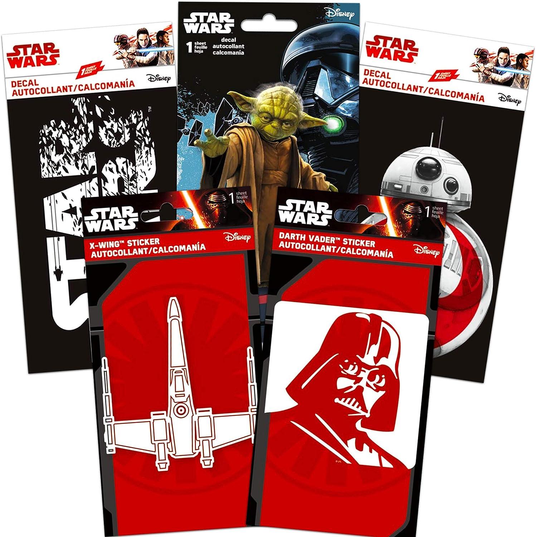 Star Wars Laptop Stickers Set - 5 Premium Star Wars Decals Room Decor, Car, MacBook, Laptop (Yoda, Darth Vader and More!)