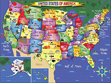 Map Of The United States Picture.Amazon Com White Mountain Puzzles Usa Map 300piece Jigsaw Puzzle