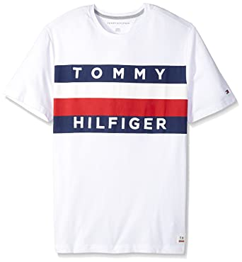ad1f3a71 Tommy Hilfiger Men's Big and Tall Flag Logo T Shirt, Bright White TL- L