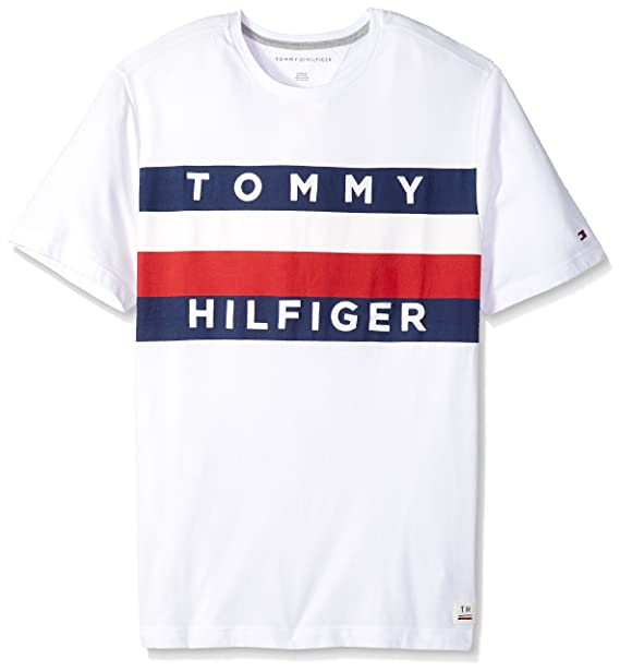 9bc830084 Tommy Hilfiger Men's Big and Tall Flag Logo T Shirt, Bright White TL- L