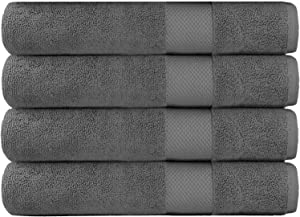 COTTON CRAFT Hotel Luxury Spa Set of 4 Bath Towels, Oversized Ringspun Cotton 700GSM, 30 inch x 58 inch, Grey