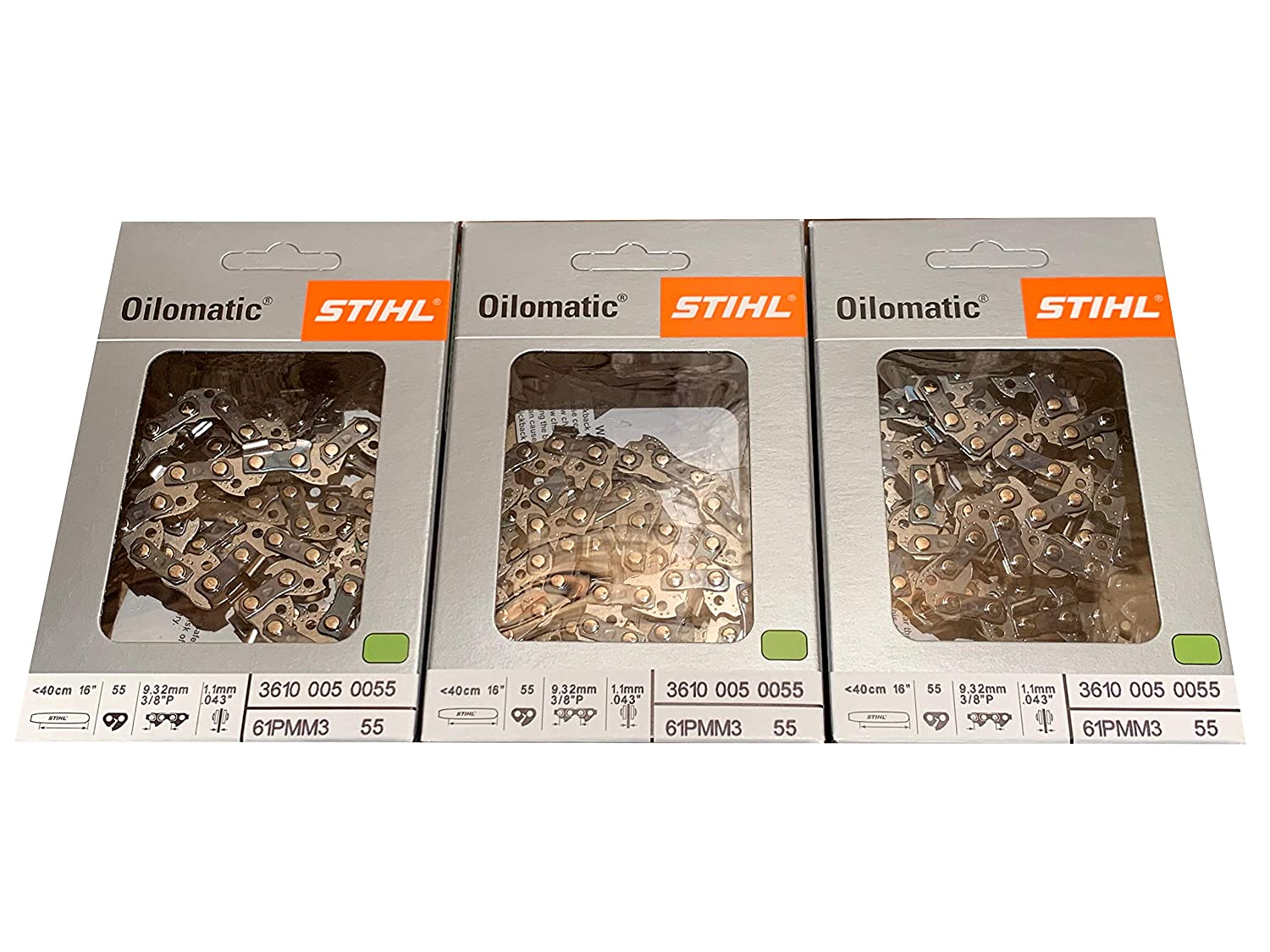 "3 pk) 16"" Stihl Chainsaw Picco Micro Oilomatic Saw Chain 61PMM355 3/8p .043 55dl"