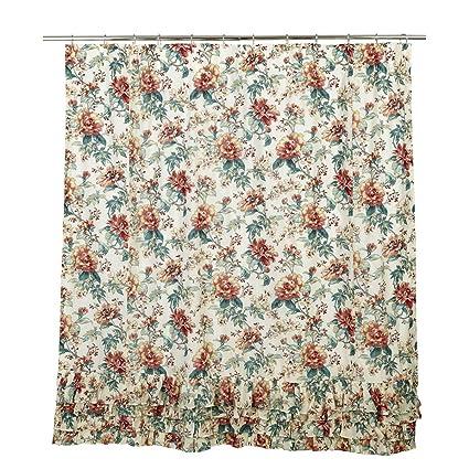 VHC Brands Farmhouse Bath Isabella White Ruffled Shower Curtain