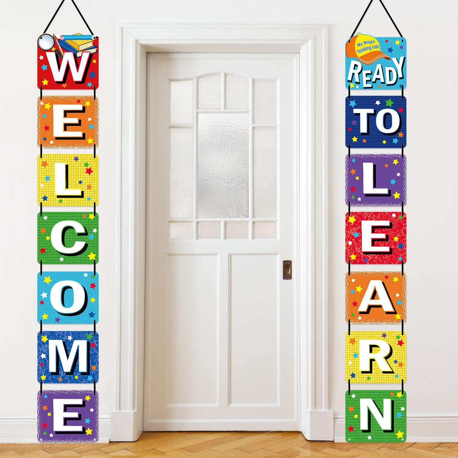 Back to School Banner Welcome Banner for First Day of School Welcome Ready to Learn Classroom Party Supplies Photo Props for Kindergarten Pre-school Primary High School Classroom Decorations