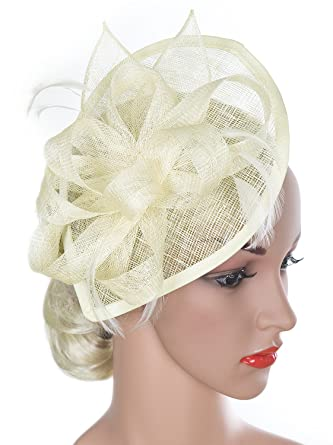 Vijiv Women Vintage Derby Fascinator Hat Pillbox Headband Feather Cocktail  Tea Party f71d5164066