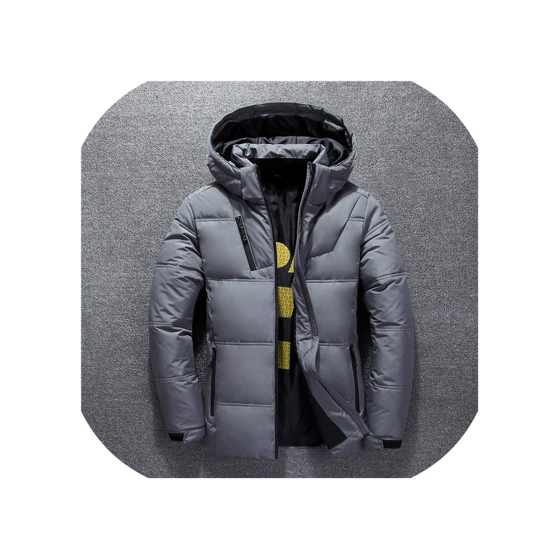 epjies Men Winter Jacket Mens Hooded Parka Jackets White Mens Thick Jacket Down Jacket