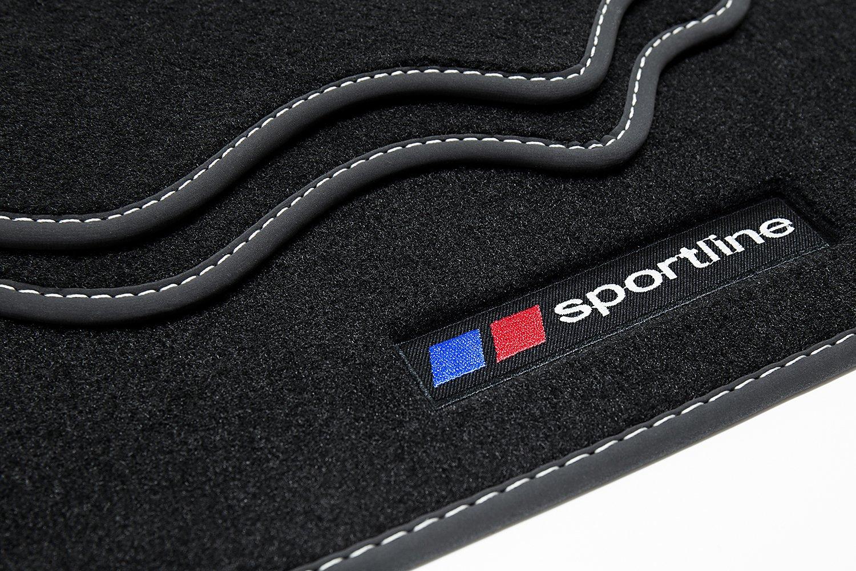 Farbe Naht:Silber teileplus24 F669 Fu/ßmatten Gummimatten Sportline Design Bandeinfassung Ziern/ähte