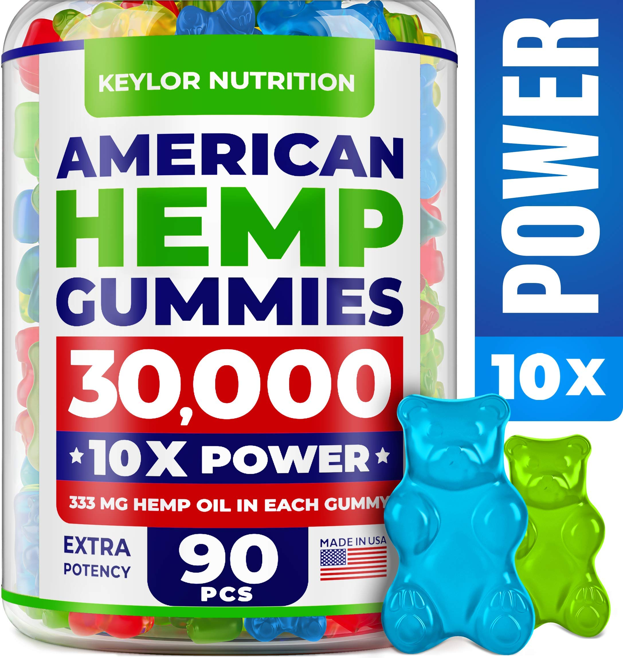 KEYLOR NUTRITION Premium Hemp Gummies - 30000 MG - All Natural Ingredients - Relief for Stress, Inflammation, Sleep, Anxiety, Depression - Vitamins & Omega 3,6,9 - Made in The USA - 90 pcs by KEYLOR NUTRITION
