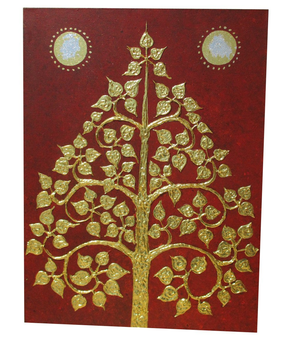 RaanPahMuang Hand Painted Thai Buddhist Bodhi Tree Thick Gold Paint on Warm Red by Raan Pah Muang