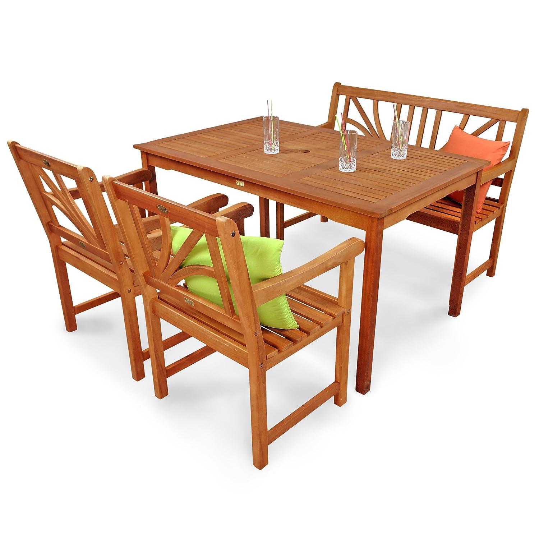indoba® IND-70104-LOSE4GB2 - Serie Lotus - Gartenmöbel Set 4-teilig aus Holz FSC zertifiziert - 2 Gartenstühle + Gartenbank + rechteckiger Gartentisch mit Schirmöffnung