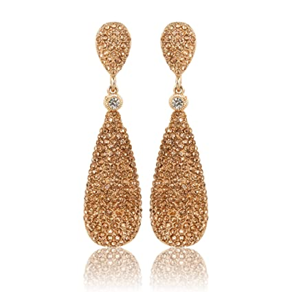 210413b29 Amazon.com: Moonstruck Costume Jewelry Chandelier Rose Gold Diamond Studded  Metal Drop and Dangle Earrings for Women: Toys & Games