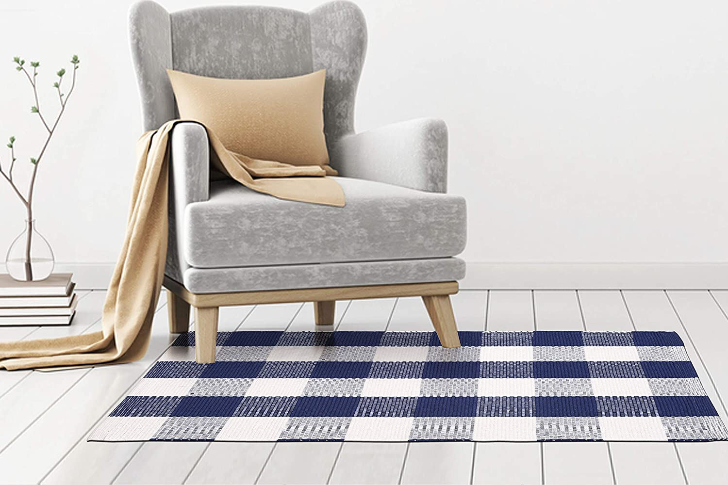 Kitchen Rugs Living Room Rug Entry Way Rugs Set Of 1 Farmhouse Rug Aqua White Cotton Rag Rug In Buffalo Checkered Design 21x34 Inch Hand Woven 100 Cotton Rug Kids Room Rug Home