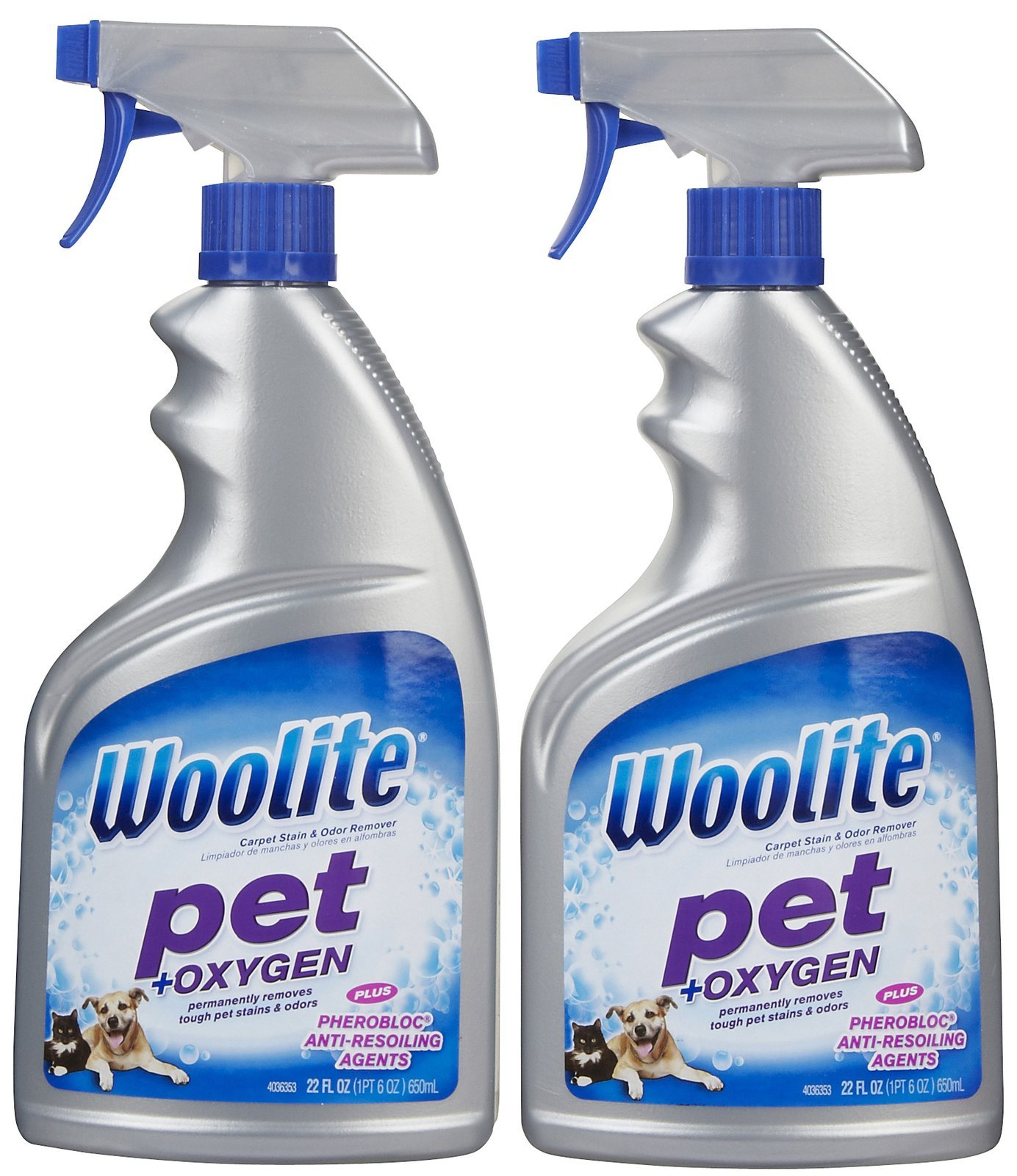 Woolite Pet Stain & Odor Remover Carpet Cleaner + Oxygen, 22 oz-2 pk