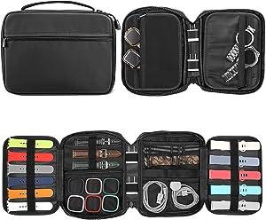 Fintie Watch Bands Storage Bag, Watch Band Organizer Travel Watch Straps Carrying Case Pouch for Watch Bands, Watch Band Pin, Cable, Watch Cases, Black