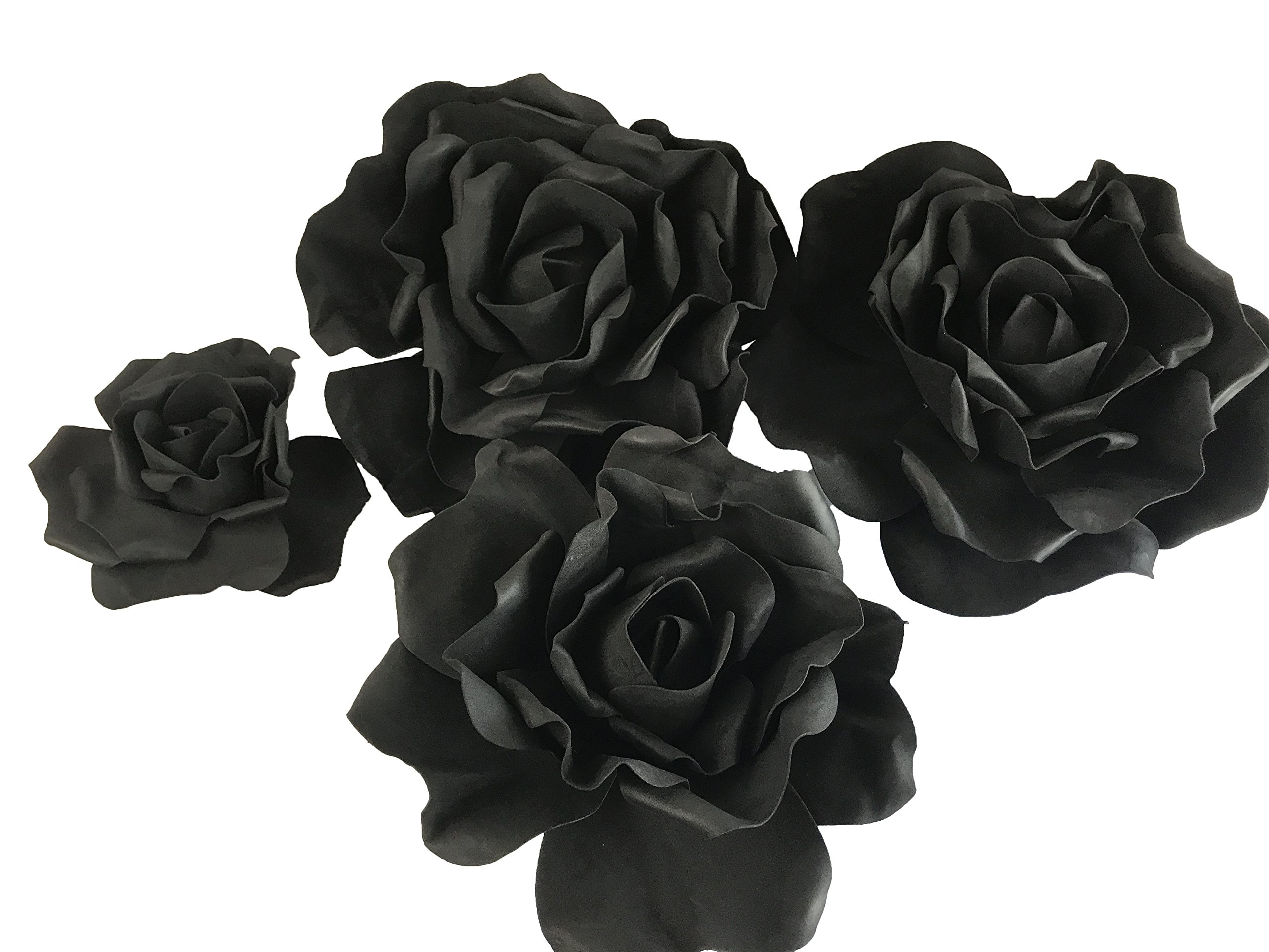Set of 4 Classic Elegant Giant foam Flowers(FLOATING). Real Touch 3D Artificial Roses. Wedding Backdrop, Photo-booth, Backdrop, Nursery, Wall, Archway, Home Decoration Centerpiece (Black)