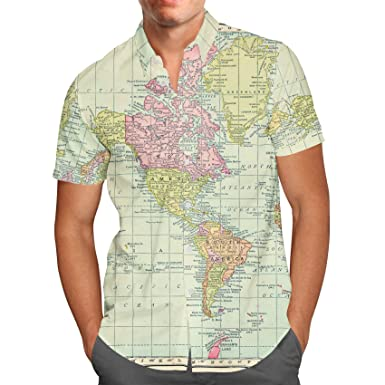 Antique World Map 1913 Mens Button Down Short Sleeve Shirt