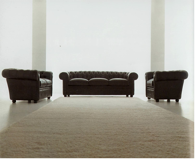 Sessel Sofa Couch Chesterfield 3-Sitzer Modell YS-2008-3 schwarz feinstes Leder