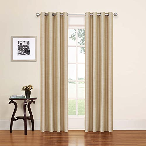 ECLIPSE Blackout Curtains for Bedroom – Bryson 52 x 63 Insulated Darkening Living Room, Wheat
