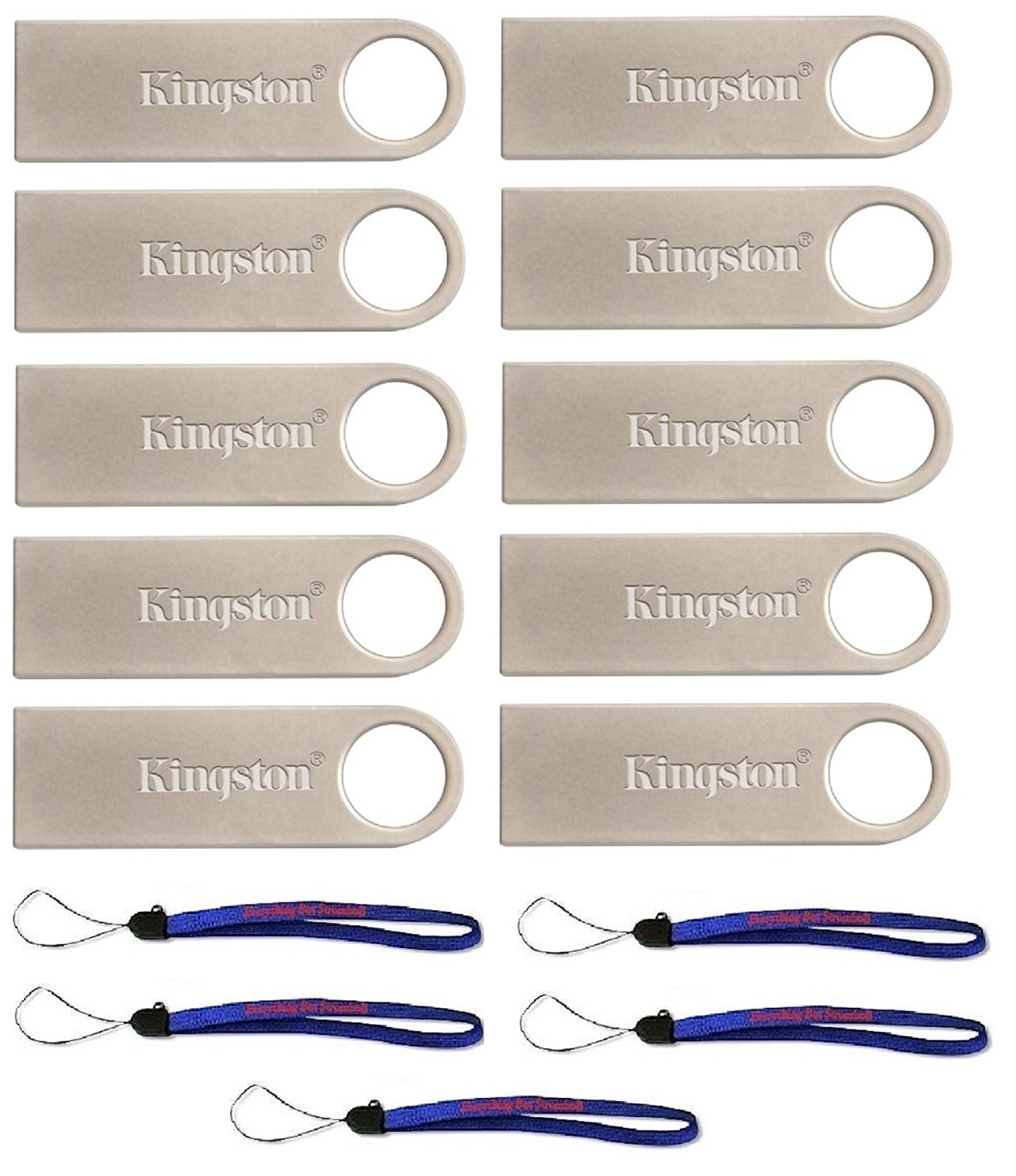 Kingston (TM) Flash Drive 10 Pack DTSE9H/32GB DataTraveler USB 2.0 Flash Drive with (5) Everything But Stromboli (TM) Lanyards by Kingston