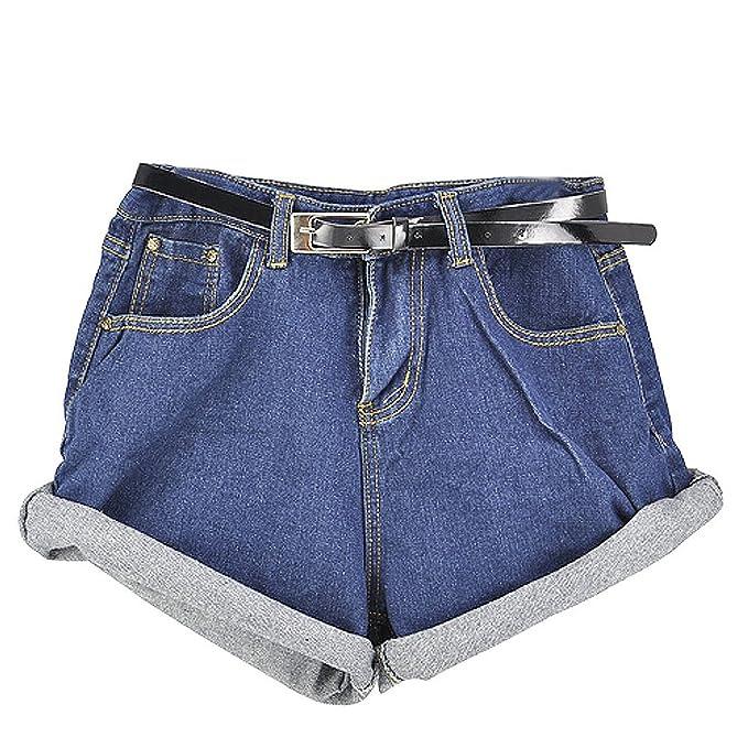 Minetom Frauen Damen Vintage Blue Ausgefranste lose lockere Baggy Shorts  Boyfriend Stretch Denim Jeans Hotpants  Amazon.de  Bekleidung aa465ceffc